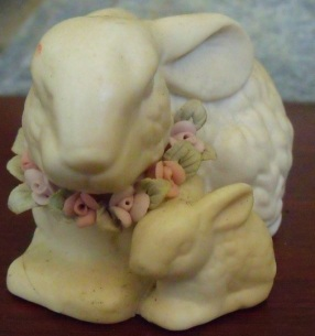 Bunny Figurine, Vintage Bisque Mother and Baby // Collectible Bunny Figurine in Victorian Style